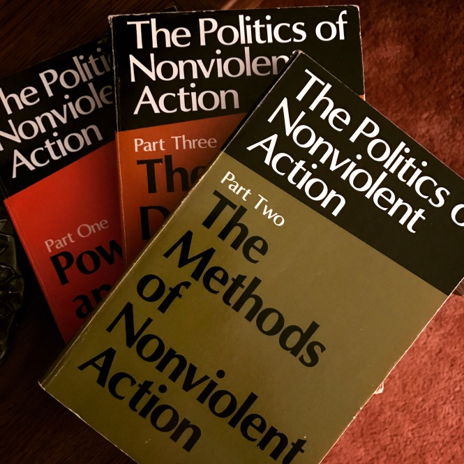 Textbook covers for a three part series of books on The Politics of Nonviolent Action.